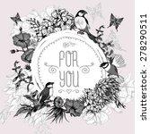 vintage monochrome floral... | Shutterstock .eps vector #278290511