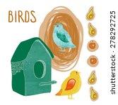 birds and birdhouses | Shutterstock .eps vector #278292725