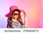 girl in a hat and glasses on a... | Shutterstock . vector #278304671