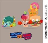 heathy food  versus  junk food. ... | Shutterstock .eps vector #278313641