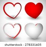Set Of 3d Stylish Heart Shapes...