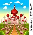 landscape with arabian castle....   Shutterstock .eps vector #278354087