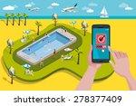 hands holding touchscreen smart ... | Shutterstock .eps vector #278377409