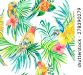 tropical parrot seamless... | Shutterstock .eps vector #278390279