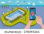 hands holding touchscreen smart ... | Shutterstock .eps vector #278393261