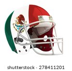 Flagged Mexico American football helmet isolated on a white background with detailed clipping path.