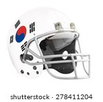 Flagged South Korea American football helmet isolated on a white background with detailed clipping path.