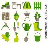 Flat Design Set Of Gardening...
