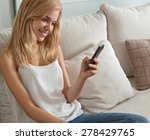 attractive young woman sitting... | Shutterstock . vector #278429765