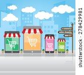 shopping online  e commerce on... | Shutterstock .eps vector #278429981