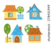 set of brightly colored houses. | Shutterstock .eps vector #278431949