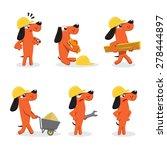 set of funny worker dog | Shutterstock .eps vector #278444897