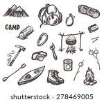Hand Drawn Vector Camping And...