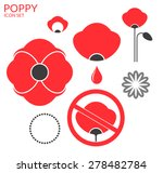 poppy. icon set. red flowers on ... | Shutterstock .eps vector #278482784