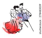 art sketched tango dancers    Shutterstock .eps vector #278483039