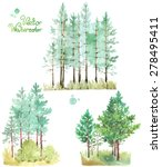 a set of watercolor green pine... | Shutterstock .eps vector #278495411