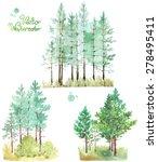 a set of watercolor green pine... | Shutterstock .eps vector #278495411