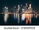Singapore Skyline At Night Wit...