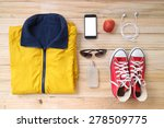 outfit of traveler  student ... | Shutterstock . vector #278509775