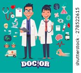 doctor character man and women... | Shutterstock .eps vector #278522615