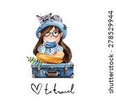 traveler girl with a cat.... | Shutterstock .eps vector #278529944