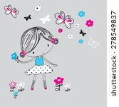 cute girl with butterfly  t... | Shutterstock .eps vector #278549837