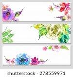 watercolor floral frame ... | Shutterstock .eps vector #278559971