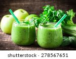 green detox smoothie on wooden ... | Shutterstock . vector #278567651