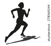 running woman with shadow.... | Shutterstock .eps vector #278569244