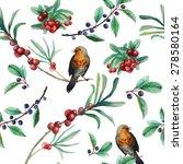Watercolor Wild Berries And...