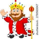Cartoon King Holding A Golden...