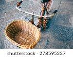 Wicker Bicycle Basket. Vintage...