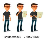 cartoon guy with tablet and... | Shutterstock .eps vector #278597831
