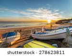 Boats In Warm Sunset Light On...