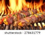 Barbecue Beef Kebabs On The Ho...