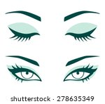 vector female eyes. closed and...