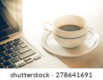 coffee cup and coffee beans on... | Shutterstock . vector #278641691