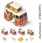 Isometric Retro Camper Van And...