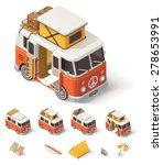 Isometric Retro Camper Van And...