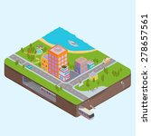 isometric city center map with... | Shutterstock . vector #278657561