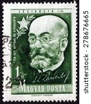Small photo of HUNGARY - CIRCA 1957: a stamp printed in the Hungary shows Lazarus Ludwig Zamenhof, Doctor, Linguist and Creator of Esperanto, Constructed Language, circa 1957