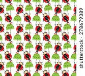Illustration With Ladybugs And...