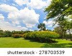 green trees in beautiful park | Shutterstock . vector #278703539