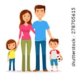 cute cartoon family in colorful ... | Shutterstock .eps vector #278705615