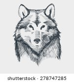wolf head grunge hand drawn...