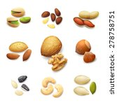 nuts realistic set with... | Shutterstock .eps vector #278758751