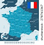 france map  flag and navigation ... | Shutterstock .eps vector #278761367