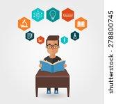 vector cartoon student reading... | Shutterstock .eps vector #278800745