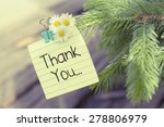 Thank You Note Message On Tree...
