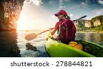 young lady paddling the kayak... | Shutterstock . vector #278844821
